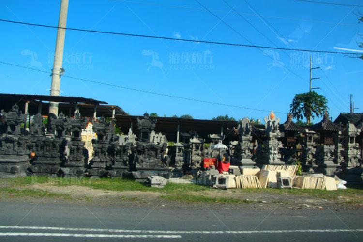 路边的石雕店铺