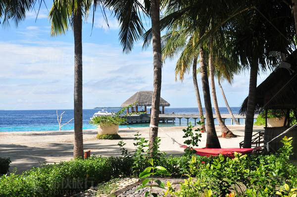 看着马尔代夫的大海
