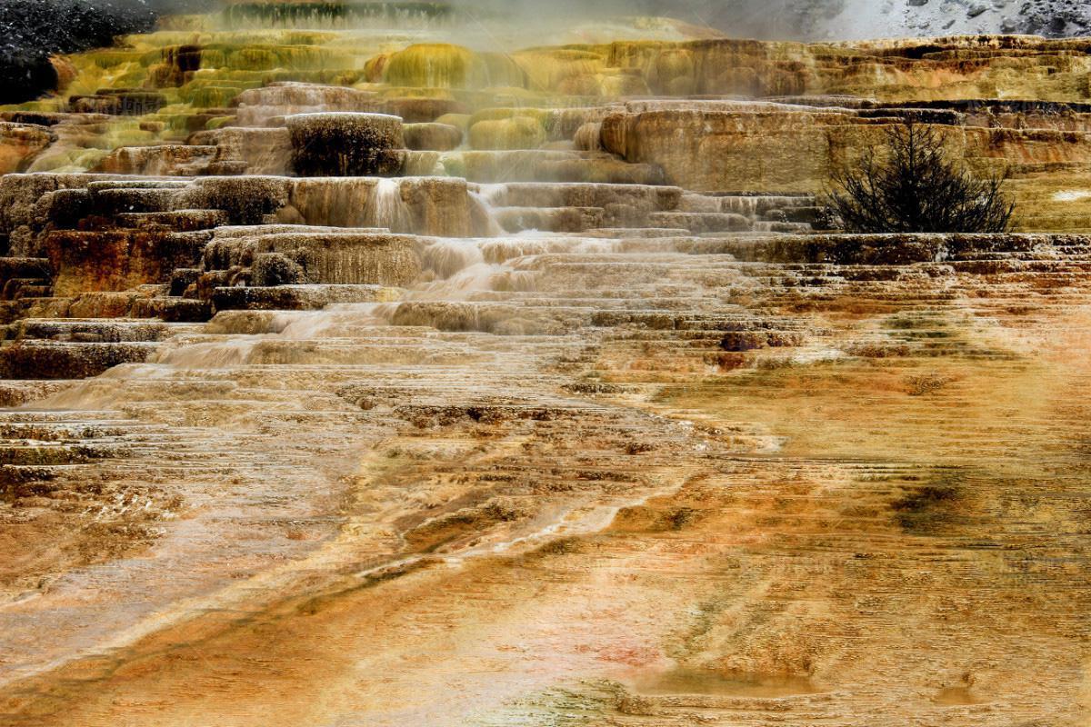 美国黄石公园猛犸温泉