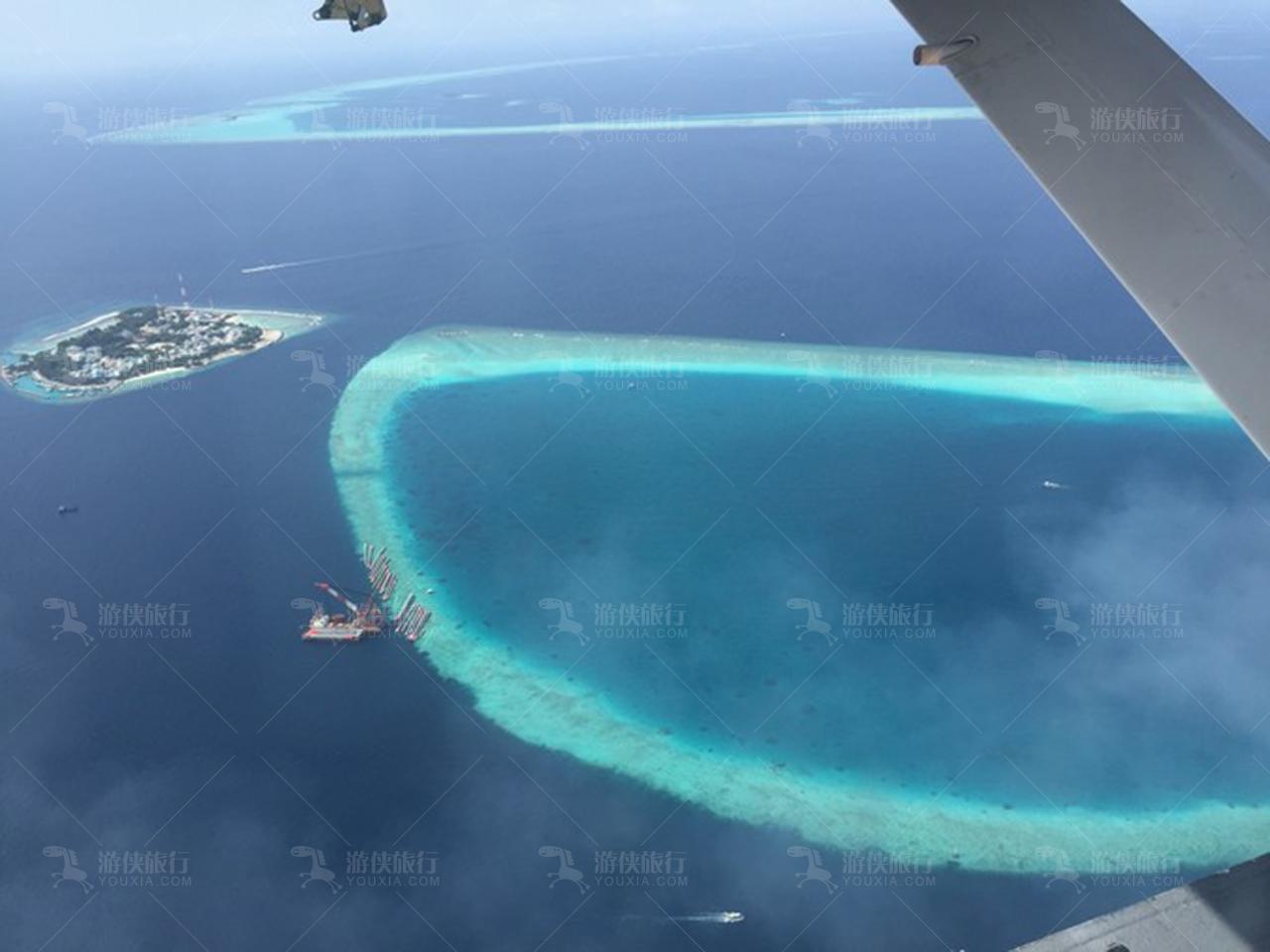 马尔代夫岛屿鸟瞰